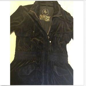 Adrienne Vittadini Navy Velour Zip Jacket EUC